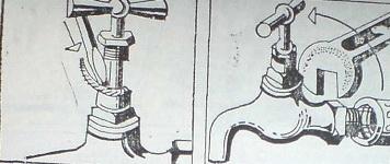 Салникът се уплътнява с шнур или навосъчен канап и старият кран се развива