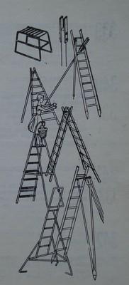 Различни стълби за беритба на овощни плодове